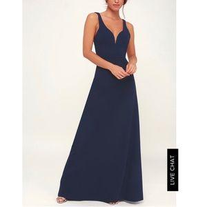Lulus Glamour Than This Navy Blue Maxi Dress - L